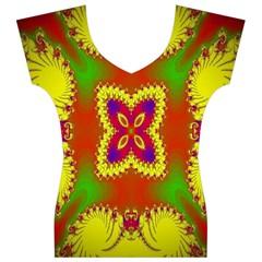 Digital Color Ornament Women s V-Neck Cap Sleeve Top