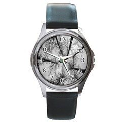 Trees Without Leaves Round Metal Watch
