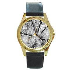 Trees Without Leaves Round Gold Metal Watch