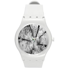 Trees Without Leaves Round Plastic Sport Watch (M)