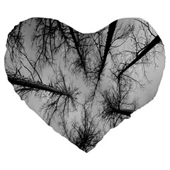 Trees Without Leaves Large 19  Premium Flano Heart Shape Cushions