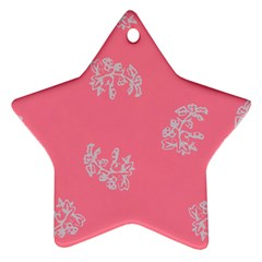 Branch Berries Seamless Red Grey Pink Ornament (Star)
