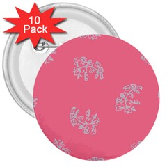 Branch Berries Seamless Red Grey Pink 3  Buttons (10 pack)
