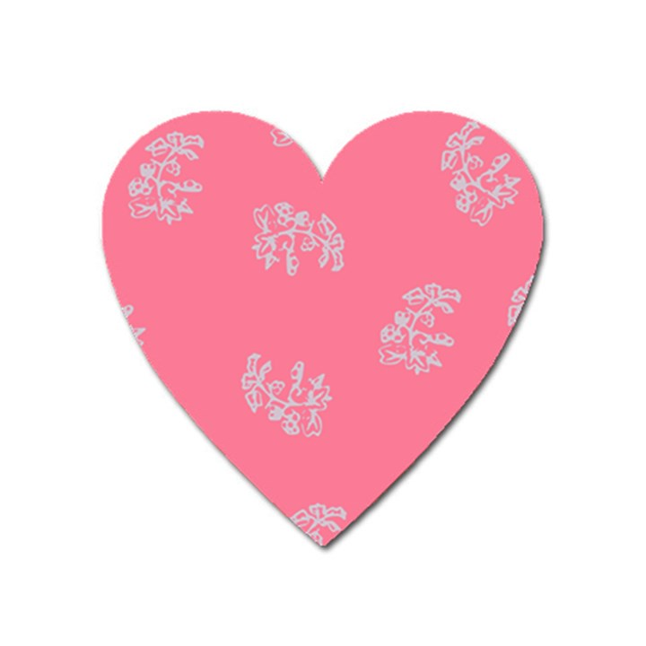 Branch Berries Seamless Red Grey Pink Heart Magnet