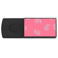 Branch Berries Seamless Red Grey Pink USB Flash Drive Rectangular (2 GB)