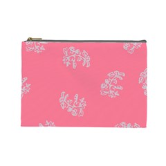 Branch Berries Seamless Red Grey Pink Cosmetic Bag (Large)