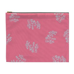 Branch Berries Seamless Red Grey Pink Cosmetic Bag (XL)