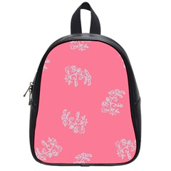 Branch Berries Seamless Red Grey Pink School Bags (Small)