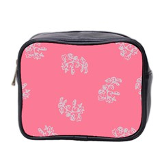 Branch Berries Seamless Red Grey Pink Mini Toiletries Bag 2-Side