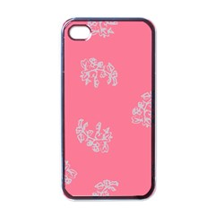 Branch Berries Seamless Red Grey Pink Apple iPhone 4 Case (Black)