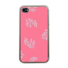 Branch Berries Seamless Red Grey Pink Apple iPhone 4 Case (Clear)