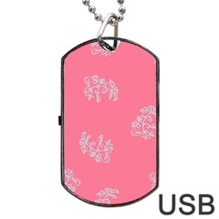 Branch Berries Seamless Red Grey Pink Dog Tag USB Flash (One Side)