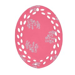 Branch Berries Seamless Red Grey Pink Oval Filigree Ornament (Two Sides)