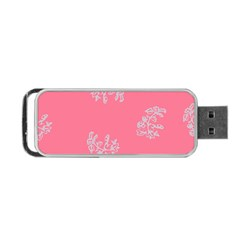 Branch Berries Seamless Red Grey Pink Portable USB Flash (One Side)