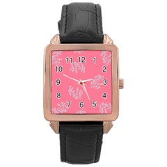 Branch Berries Seamless Red Grey Pink Rose Gold Leather Watch