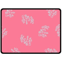 Branch Berries Seamless Red Grey Pink Double Sided Fleece Blanket (Large)