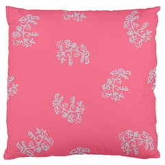 Branch Berries Seamless Red Grey Pink Large Flano Cushion Case (One Side)