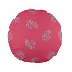 Branch Berries Seamless Red Grey Pink Standard 15  Premium Flano Round Cushions