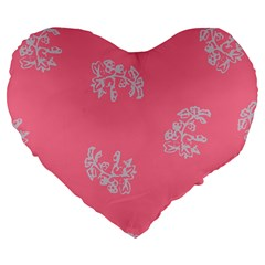 Branch Berries Seamless Red Grey Pink Large 19  Premium Flano Heart Shape Cushions