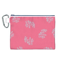 Branch Berries Seamless Red Grey Pink Canvas Cosmetic Bag (L)