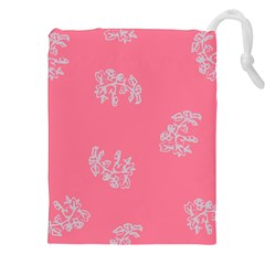 Branch Berries Seamless Red Grey Pink Drawstring Pouches (XXL)