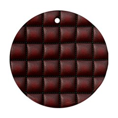 Red Cell Leather Retro Car Seat Textures Ornament (round)