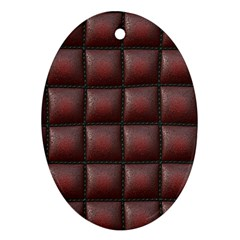 Red Cell Leather Retro Car Seat Textures Ornament (Oval)