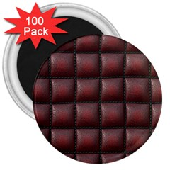 Red Cell Leather Retro Car Seat Textures 3  Magnets (100 Pack)