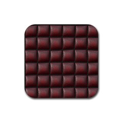 Red Cell Leather Retro Car Seat Textures Rubber Square Coaster (4 Pack)
