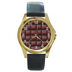 Red Cell Leather Retro Car Seat Textures Round Gold Metal Watch