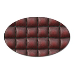 Red Cell Leather Retro Car Seat Textures Oval Magnet