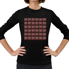 Red Cell Leather Retro Car Seat Textures Women s Long Sleeve Dark T Shirts