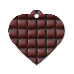 Red Cell Leather Retro Car Seat Textures Dog Tag Heart (One Side)