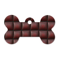 Red Cell Leather Retro Car Seat Textures Dog Tag Bone (Two Sides)