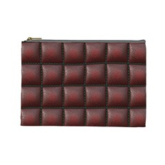 Red Cell Leather Retro Car Seat Textures Cosmetic Bag (large)