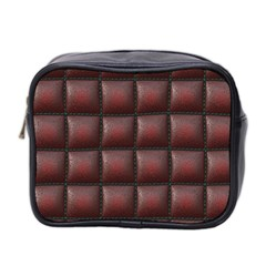 Red Cell Leather Retro Car Seat Textures Mini Toiletries Bag 2 Side