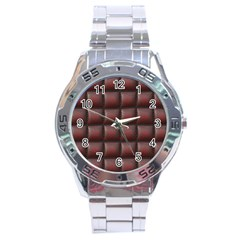 Red Cell Leather Retro Car Seat Textures Stainless Steel Analogue Watch