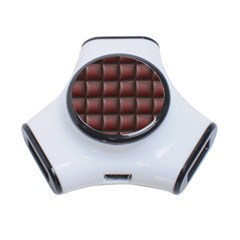 Red Cell Leather Retro Car Seat Textures 3-Port USB Hub