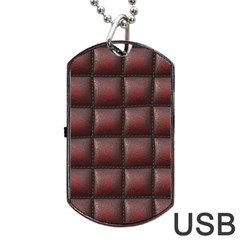 Red Cell Leather Retro Car Seat Textures Dog Tag Usb Flash (one Side)