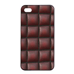 Red Cell Leather Retro Car Seat Textures Apple Iphone 4/4s Seamless Case (black)