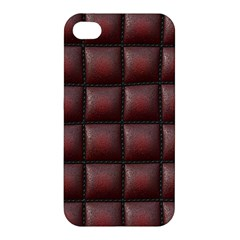 Red Cell Leather Retro Car Seat Textures Apple Iphone 4/4s Premium Hardshell Case