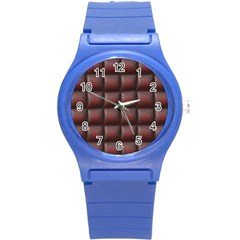 Red Cell Leather Retro Car Seat Textures Round Plastic Sport Watch (S)