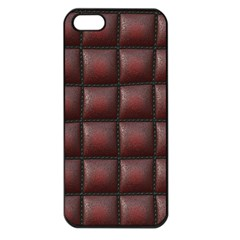Red Cell Leather Retro Car Seat Textures Apple iPhone 5 Seamless Case (Black)