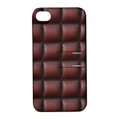 Red Cell Leather Retro Car Seat Textures Apple Iphone 4/4s Hardshell Case With Stand