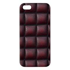 Red Cell Leather Retro Car Seat Textures Apple Iphone 5 Premium Hardshell Case