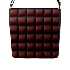 Red Cell Leather Retro Car Seat Textures Flap Messenger Bag (l)