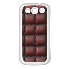 Red Cell Leather Retro Car Seat Textures Samsung Galaxy S3 Back Case (white)