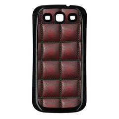 Red Cell Leather Retro Car Seat Textures Samsung Galaxy S3 Back Case (black)