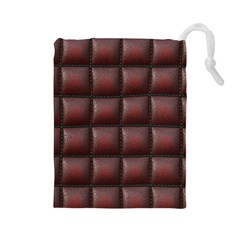 Red Cell Leather Retro Car Seat Textures Drawstring Pouches (Large)