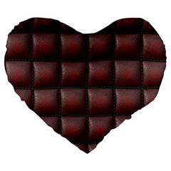 Red Cell Leather Retro Car Seat Textures Large 19  Premium Flano Heart Shape Cushions